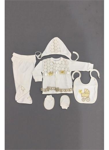 Nenny Baby Nenny Baby T751 Desenli Kız Bebek Pusetli 5' li Hastane Çıkışı Zıbın Seti Altın